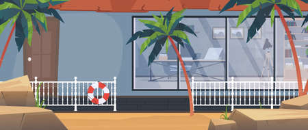 Villa with a pool among palm trees on the beach. Vector