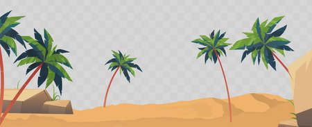 Sand, beach and palm trees isolated. Element for design on a summer theme. Vector