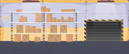 Large warehouse with drawers. Rack with drawers and boxes. Carton boxes. Vector. Vecteurs
