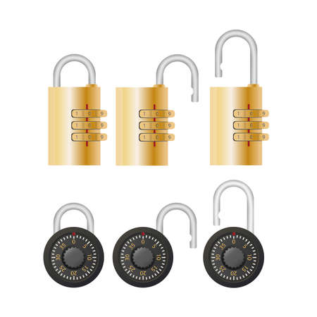 Padlock with code. Padlock for doors, safes and suitcases. Flat style. Vector.