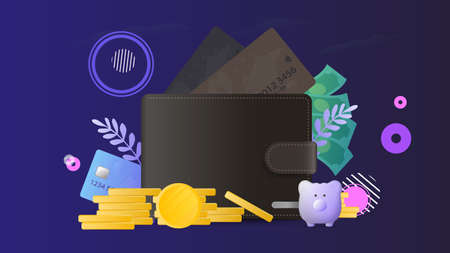 Brown wallet with credit cards and gold coins. Men's wallet with bank cards. The concept of savings and accumulation of money. Good for presentations and articles on a business topic.