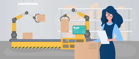 Large warehouse with drawers. Rack with drawers and boxes. A girl with a list of goods in her hands. A woman holds an invoice in her hand. Carton boxes. Vector.