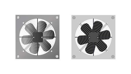 Realistic style exhaust fan. Fan, cooler for the computer. Isolated. Vector.