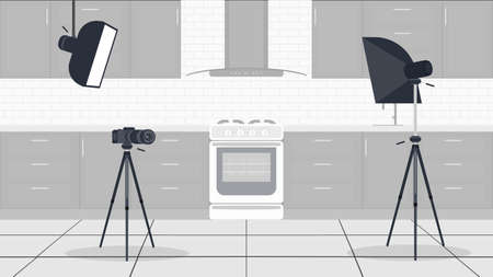Studio for kitchen vlogs. Stylish kitchen in a flat style. Kitchen cabinets, stove, oven, video camera, softbox. Background for cooking vlogs. Vector.