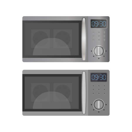 Set of Microwaves in a realistic and flat style. Kitchen microwave oven isolated on a white background. Vector.