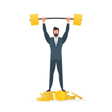 A businessman stands on a mountain of coins and raises the barbell. A man in a suit with a barbell. The concept of a successful business and revenue growth. Isolated. Vector. Illustration