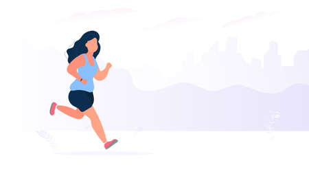 Fat girl runs a banner. Running fat woman on the street. The concept of weight loss and a healthy lifestyle. Vector. Illustration