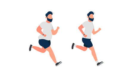 Man is running. Running fat guy. The concept of weight loss and a healthy lifestyle. Isolated. Vector