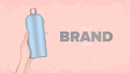 Hand holds a plastic bottle. Realistic female hand with a bottle. Good for shampoo or shower gel. Banner for advertising cosmetics. Vector. Illustration