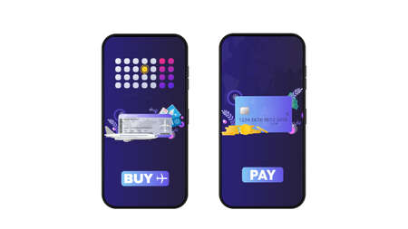 Phone with the application for the purchase of airline tickets. Payment application. The concept of an online store and buying airline tickets. Vector.