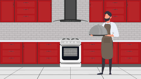 A man holds a metal dish with a lid. The guy in the kitchen apron is a tray. Good for banners and articles on the culinary theme. Vector.