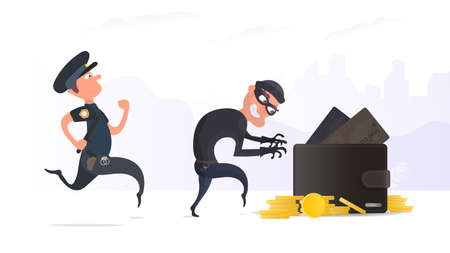 A criminal steals a wallet with credit cards and gold coins. A policeman detains a robber. The concept of robbery. Security finance and data. Flat style, Vector.