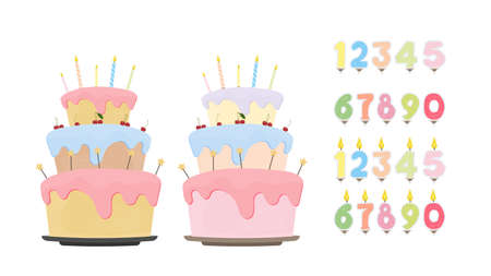 Set for design on a birthday theme. Holiday cake. Set of festive candles in the form of numbers. Isolated over white background. Vector.