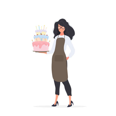 Girl cook holds a birthday cake. Girl holds a pie. Isolated. Vector. Illustration