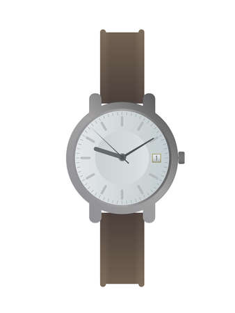 Wristwatch with a white dial and a brown strap. Wristwatch in a flat style. Isolated. Vector. Illustration