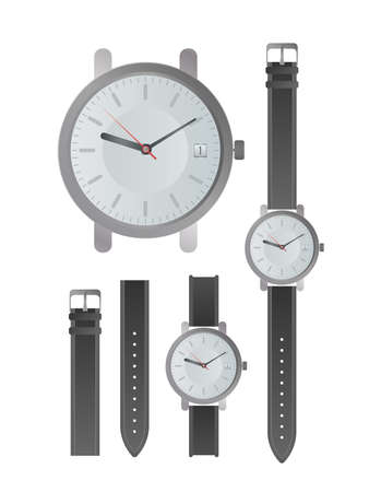 Set of classic men's watches. Wristwatch with a leather strap. Isolated. Realistic vector.