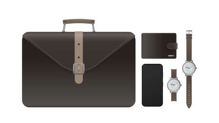 Set for the businessman. Leather briefcase, suitcase, brown wallet, wristwatch with leather strap, smartphone. Realistic vector. Stock illustration, isolated.