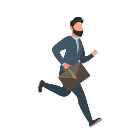 Businessman is running with a suitcase. Running man in a business suit with a briefcase. Good for business themes. Vector. Illustration