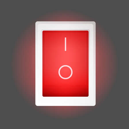 Red on and off button. The red power button lights up. Isolated. Vector.