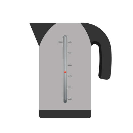 Electric gray kettle in a flat style. Electric kettle icon isolated on a white background. Vector.