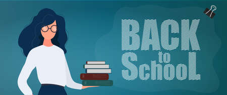 Back to school banner. A girl with glasses holds a stack of books. Stationery, leather scabbard, pens, pencils, felt-tip pens, rulers. Concept for the start of the school season. Vector.