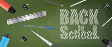 Back to school green banner. School supplies, pen, pencil, marker, ruler, scissors, paper clip. Vector.