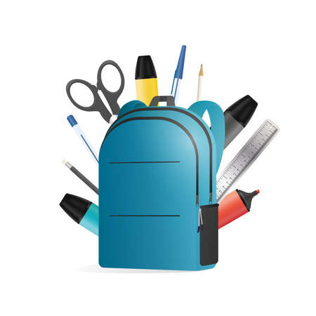 Backpack in 3d. School backpack with office supplies. School supplies, pen, pencil, marker, ruler, scissors, paper clip. Good for a back to school topic. Isolated. Vector.