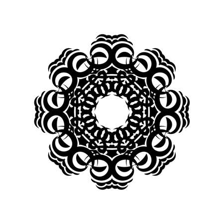 Indian mandala black and white. Circular ornament. Isolated element for design and coloring on a white background.