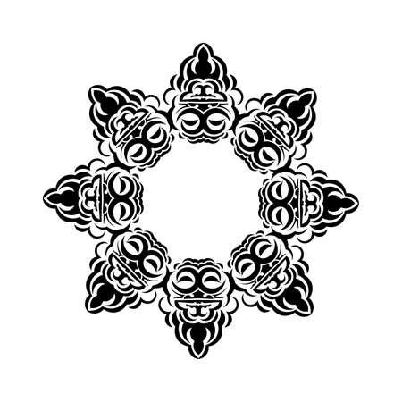 Vintage mandala black white round ornament for design. Isolated on a white background. Vector illustration.