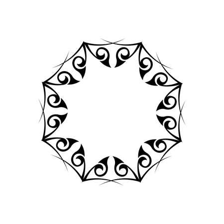 Vintage mandala black white round ornament. Decorative round ornaments. Unusual flower shape. Illustration