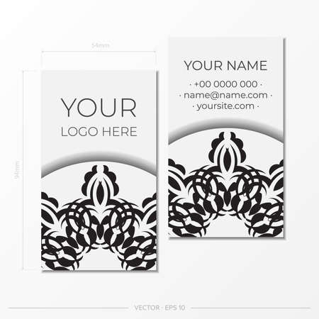 White luxury Business cards. Decorative business card ornaments, oriental pattern, illustration.