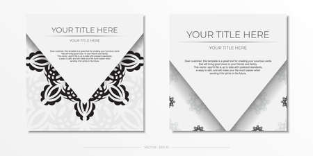 Luxurious white square invitation card template with vintage abstract ornament. Elegant and classic vector elements are great for decoration.