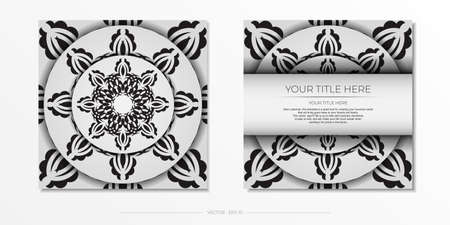 Luxurious white square invitation card template with vintage abstract ornament. Elegant and classic vector elements ready for print and typography. Illustration