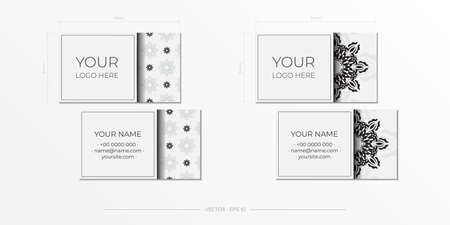 White luxury business cards template. Decorative business card ornaments, oriental pattern, illustration.