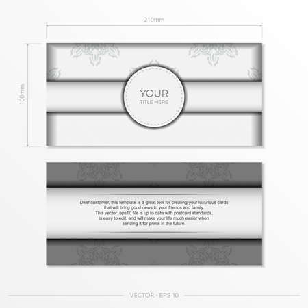 Luxurious white rectangular invitation card template with vintage abstract ornament. Elegant and classic vector elements are great for decoration.
