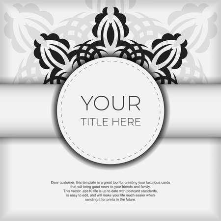 Luxurious white square postcard template with vintage abstract ornament. Elegant and classic vector elements are great for decoration.