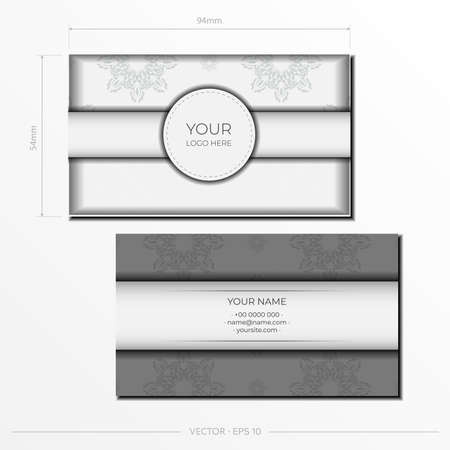 White luxury business cards template with decorative ornaments business cards, oriental pattern, illustration.