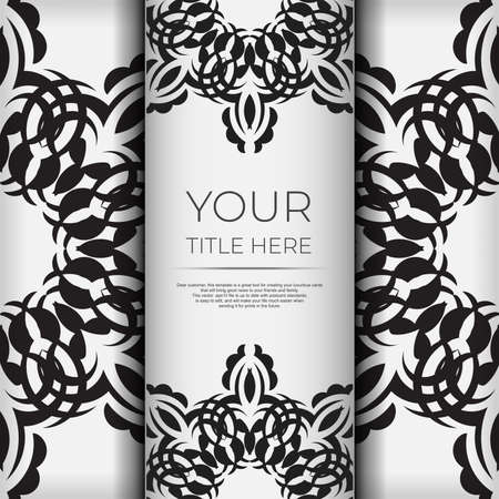 Luxurious white square postcard template with vintage abstract ornament. Elegant and classic vector elements ready for print and typography.