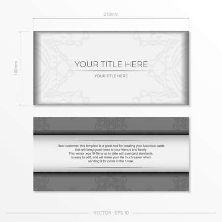 Luxurious white rectangular invitation card template with vintage indian ornaments. Elegant and classic vector elements ready for print and typography. Illustration