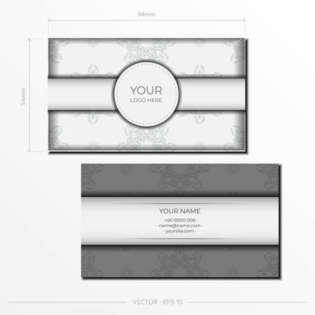 White luxury business cards with decorative ornaments business cards, oriental pattern, illustration.