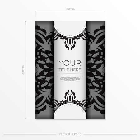 Luxurious white rectangular postcard template with vintage abstract ornament. Elegant and classic vector elements are great for decoration.