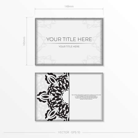 Luxurious white rectangular postcard template with vintage abstract mandala ornament. Elegant and classic vector elements are great for decoration. Illustration