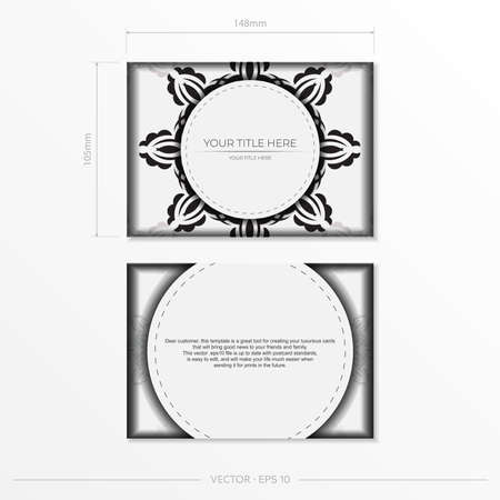 Luxurious white rectangular postcard template with vintage indian mandala ornament. Elegant and classic vector elements ready for print and typography.