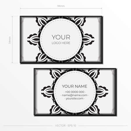 White luxury Business cards. Decorative business card ornaments, oriental pattern, illustration. Ready to print, meet the requirements of the printing house.