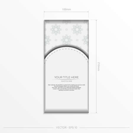 Luxurious white rectangular invitation card template with vintage abstract ornament. Elegant and classic elements are great for decorating. Vector illustration.