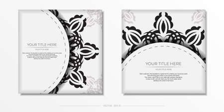Luxurious white square postcard template with vintage indian ornaments. Elegant and classic vector elements ready for print and typography.