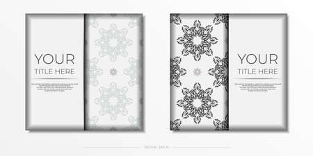 Luxurious white square postcard template with vintage abstract mandala ornament. Elegant and classic vector elements are great for decoration.