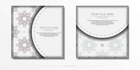 Luxurious white square postcard template with vintage abstract mandala ornament. Elegant and classic vector elements ready for print and typography.