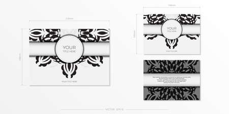 Luxurious white rectangular invitation card template with vintage abstract ornament. Elegant and classic vector elements ready for print and typography. Vector illustration.