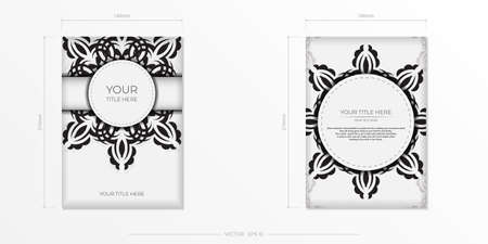 Luxurious white rectangular invitation card template with vintage indian ornaments. Elegant and classic elements ready for print and typography. Vector illustration. Illustration